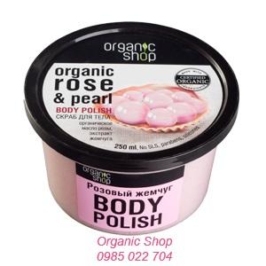 Kem tẩy da chết body Polish chiết xuất ngọc trai Organic Shop